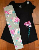 NWT JUSTICE Girls 8 10 12 Blk Sparkle Swingy Tee & Crop Leggings Outfit-SO CUTE!