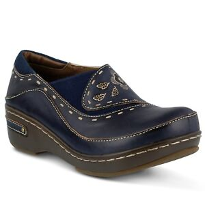 L'Artiste Burbank Women's Navy Hand Painted leather closed back clog  EUR 38