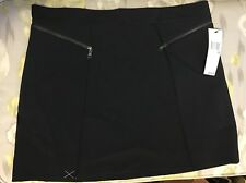 DKNY Women's Black Mini Skirt With Zipper Embellishment Pleated Size 12 NWT $195