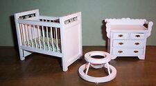 Kinderzimmer Möbelset, Puppenhaus Miniatur 1:12 rosa 3 Teile