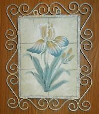 PRIMITIVE CHIPPY CHIC VINTAGE HOME OR GARDEN IRON & TILE WALL HANGING OF LILLY