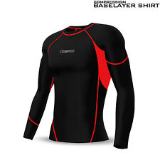 Mens Compression Tights & Top Set Base Layer Running Yoga Body Armour Gym Fit Red 2xl Trousers