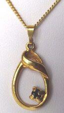 collier pendentif bijou vintage plaqué or déco ajourée solitaire saphir 3407