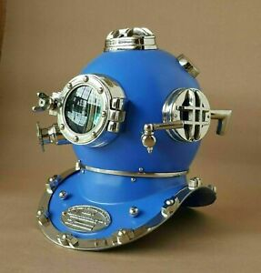 Blue Vintage Silver Diving Helmet US Navy Deep Sea Marine Divers Antique Scuba