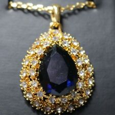 """Blue Sapphire Diamond Halo Pendant Necklace 18"""" Chain Gold Plated YBP15"""