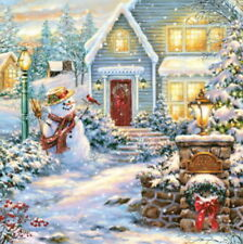 4 Servietten ~ Christmas Evening Weihnachtsabend Winter Schneemann basteln