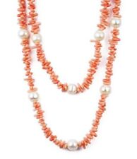 "36"" Long Pink Coral Cupolini and Pearl Necklace"