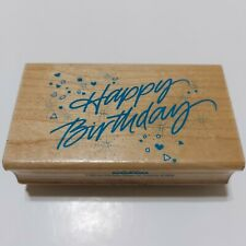 Hero Art Wood Rubber Stamp Happy Birthday with Confetti F482