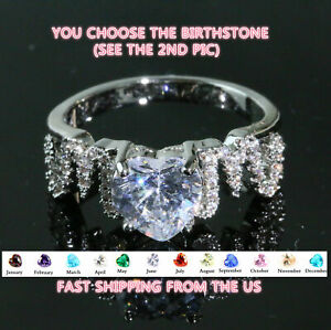 Mom Ring Personalized CZ Birthstone Heart Mother's Ring Gift for Mother's Day