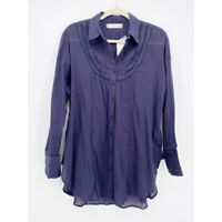 Free People We The Free Womens Button Front Shirt Midnight Blue Collar XS New