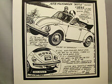 1977 Volkswagen Beetle   Auto Pen Ink Hand Drawn  Poster Automotive Museum