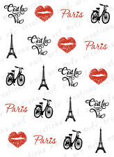 "20 Nail Decals C'est La Vie ""That's Life"" Paris/France Waterslide Nail Decals"