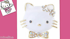 ★★★ NEU Hello Kitty Brosche Anstecknadel weiß Glitzer Kristalle ★★★H5