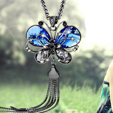 Fashion Blue Rhinestone Butterfly Pendant Sweater Long Choker Necklace Chain