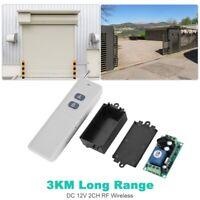 3KM Long Range DC12V 2CH RF Wireless Remote Control Switch  Transmitter+Receiver