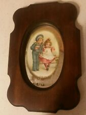 Sailor Girl Vintage Framed Picture on Mirror 11 by 7