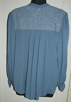 Free People women's tunic top button High/low long sleeves Over-size blue S - M
