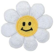 """Daisy Applique Patch - Flower, Smiley Face Badge 2"""" (Iron on)"""