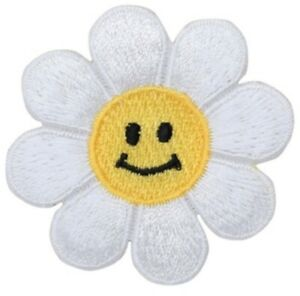 """Daisy Applique Patch - Flower, Smiley Face Badge 1.75"""" (Iron on)"""