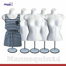5 Pack Mannequin Torsos Body Dress Form White w/ Table Top Stand + Hanger
