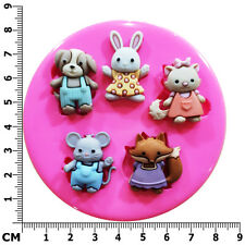 Garden Buddies Dog Cat Rabbit Mouse Fox Silicone Mould by Fairie Blessings
