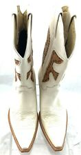 FRYE CREAM/BROWN STUDED WESTERN COWBOY BOOTS SIZE 7 US 37.5 EU