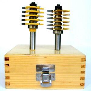 """2pc 1/2""""SH Adjustable Box & Finger Joint Router Bit Set S"""
