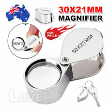 OZ J Pocket 30x21mm Glass Magnifier Chrome Magnifying Eye Jewellers Loupe