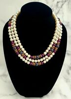 Vintage Faux Pearl & Blue Ceramic Purple BEADSTriple Strand GRADUATED Necklace