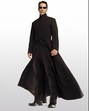 MATRIX NEO Keanu Reeves Noir Gothique Woolen Trench Coat Full Length Long Jacket