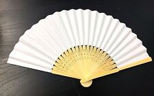 White Hand Held Fan Folding Bamboo Paper Wooden Wedding Events Decor Oriental