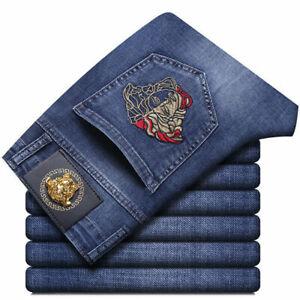 2021 UK Men's  Blue  Versace Slim Embroidered Denim Trousers Jeans Pants