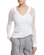 MICHAEL KORS COLLECTION White V-Neck Loose Knit Mesh Linen Sheer Sweater Size M