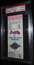 1992 ATLANTA BRAVES TORONTO BLUE JAYS 1ST CANADIAN TEAM IN WS GAME 1 TICKET PSA
