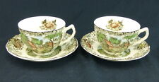 Johnson Brothers Millstream Brown Set Of 2 Cups and Saucers Flat England Flowers