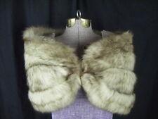"Lloyds Vintage Ivory Brown Tips 4 Pelts Fox Fur Wide Wrap Stole- 40"" Long"