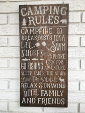 "Large Rustic Wood Sign - ""Camping rules..."" Cabin, Mountain Decor, Fishing"