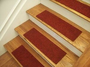 "Premium Carpet Stair Tread Sets - Rugged Red - 30"" x 8"""