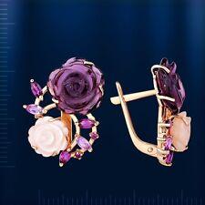 Russische Rosegold 585 Ohrringe Perlmutt Amethyst Rhodolite Wunderschöne Blumen