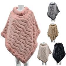 Women's In Finta Pelliccia Pullover Inverno Caldo Cappotto MANTELLE SCIALLE PONCHO Wraps Soft