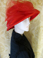 Ladies Vintage Style Red Wool Hat Satin Detail 1990s