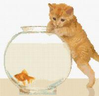 "Ginger Tabby Cat/Kitten & Goldfish - Cross Stitch Kit 10"" x 10"" - 14 Count Aida"