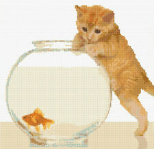 "Ginger Tabby Cat/Kitten & Goldfish - Cross Stitch Kit 10"" x 10"" - 14 Count Aida"