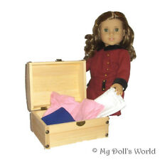 Wood Chest For 18 Inch Doll - Trunk Fits American Girl Beforever Addy Kirsten