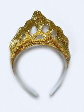 Haarreif-Krone Diadem goldfarbener Pailletten-Kopfschmuck Accessoire 129416313F