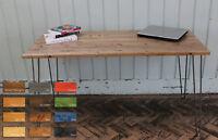 Rustic Vintage Industrial  Wood Dining Table Desk Metal Hairpin Legs
