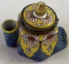 Desvres France Vtg Inkwell Dip Stand w/Lid Blue/Yellow Floral Desk Decor