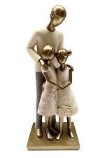Dekofigur Vater mit Kindern 24x10cm Figur antik gold Design Familie Skulptur
