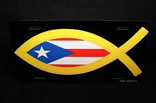 JESUS FISH METAL LICENSE PLATE TAG FOR CARS WITH PUERTO RICO FLAG RELIGIOUS