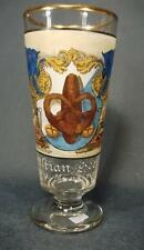 Bockbierglas eines Bäckers, Münsingen 1916. Glas lithographiert u. handkoloriert